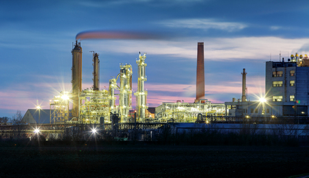 Factory at night, Chemical industry