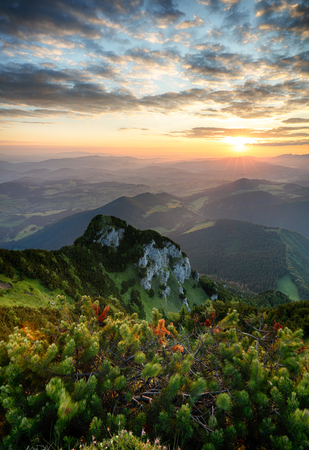 Sunrise on mountain at summer