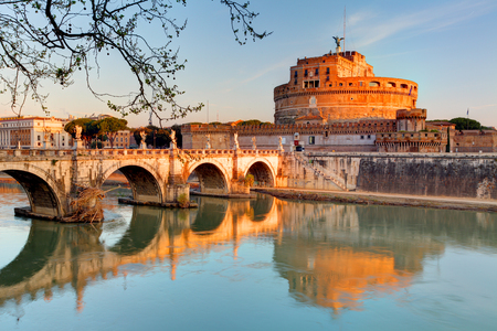 Fortress of SantAngelo and its reflection in river Tevere, Rome.