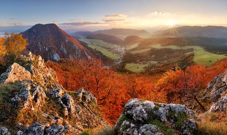 Slovakia autumn landscape panorama at sunset Reklamní fotografie