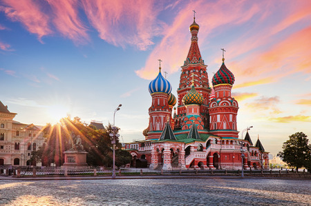 Moscow, Russia - Red square view of St. Basils Cathedral at sunrise, nobody Reklamní fotografie