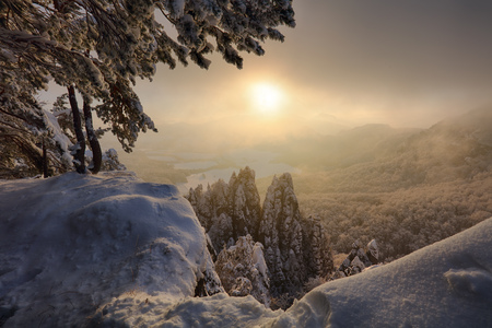 Beautiful Winter panorama landscape with snow covered trees Reklamní fotografie