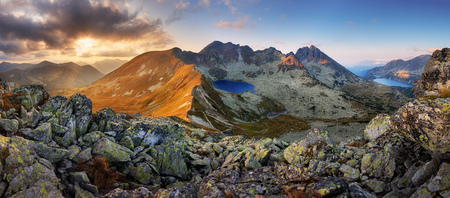 Panorama of mountain landscape at summer in Tatras at sunset in Slovakia Reklamní fotografie