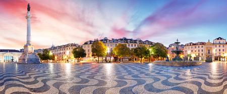 Panorama di Lisbona in piazza Rossio, Portogallo