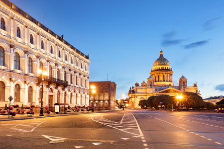 Isaac cathedral in St Petersburg at night, Russia.