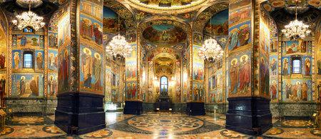Innenraum der Erlöserkirche auf vergossenem Blut in St. Petersburg, Russland Editorial