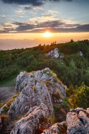 Mountain valley during sunrise. Natural summer landscape in Slovakia Reklamní fotografie