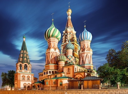 Moscow, Russia - Red square view of St. Basils Cathedral at night