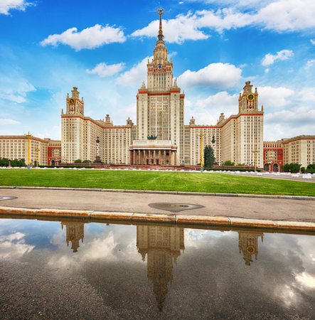 Moscow university with reflection in water, Russia