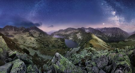 Milky way over Tatras mountain panorama, Slovakia from Hladke Sedlo