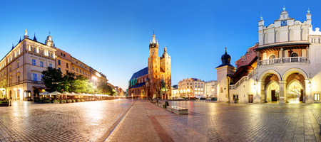 Panorama of Krakow Market Square, Poland at night Reklamní fotografie