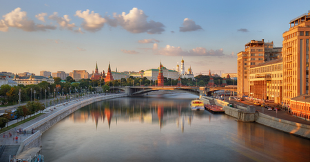 Panoramic view of Moscow, Moskva river and Kremil