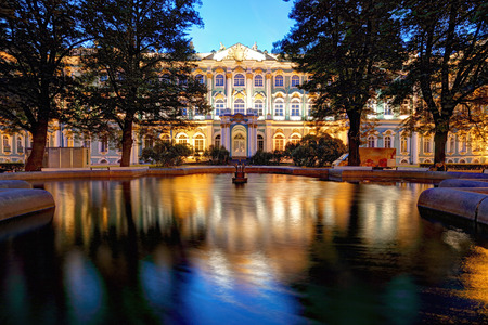 Winter Palace in Saint Petersburg at night, Russia. Hermitage