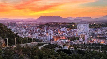 Panorama of Alicante from Castle of Santa Barbara. Alicante, Valencian Community, Spain.
