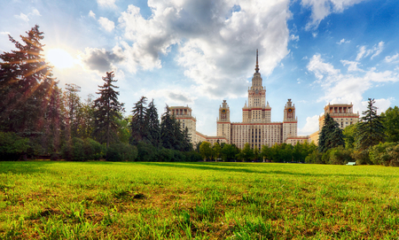 View of Moscow State University in summer in Moscow.