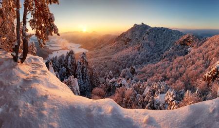 Majestic sunset panorama in winter mountains landscape, Slovakia.
