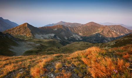 Beautiful dramatic sunset in the mountains. Landscape with sun, Slovakia Tatras panorama
