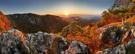 Mountain autumn landscape with colorful forest and Uhrovec castle, Slovakia Redakční