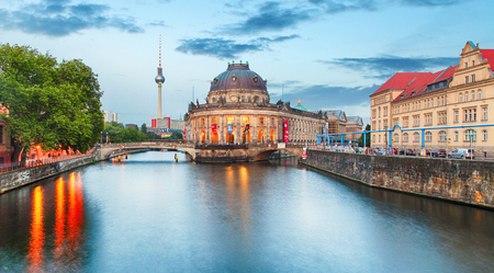 Pretty night time illuminations of the Museum Island in Berlin, Germany.