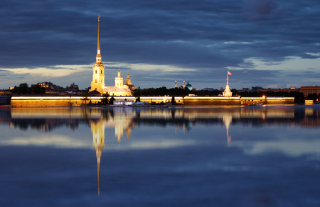 Peter and Paul fortress at night, on Neva, Saint-Petersburg, Russia Reklamní fotografie