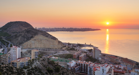 Spain, Alicante city at sunset