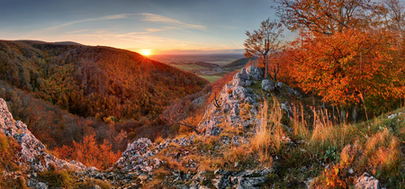 Panorama of autumn forest and rock in Slovakia mountain