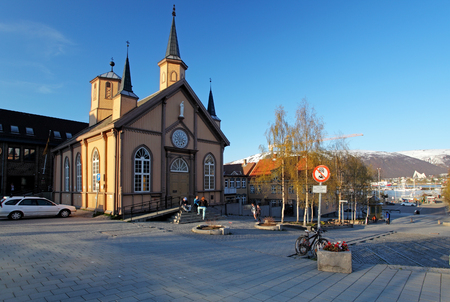 Tromso square with church, Norway