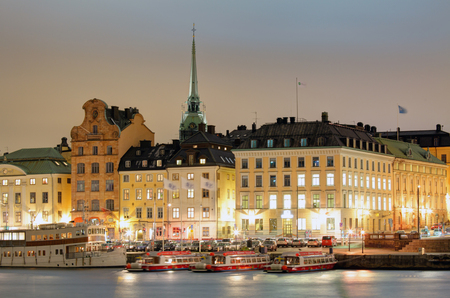 Scenic of the Old Town (Gamla Stan) architecture pier in Stockholm, Sweden