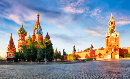 Russia - Moscow in red square with Kremlin and St. Basils Cathedral Reklamní fotografie