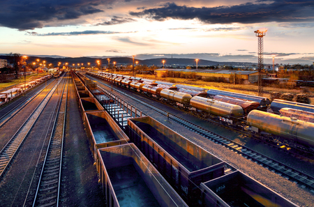 Container Freight Train in Station, Cargo railway transportation industry Reklamní fotografie