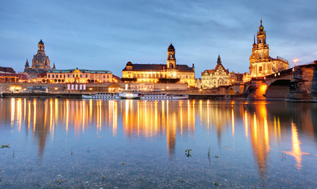 Dresden, Germany old town skyline on the Elbe River.