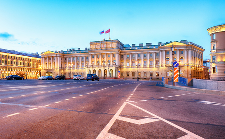 Russia, Building of Legislative assembly of St Petersburg, Isaak Square, night - Mariinsky palace Redakční