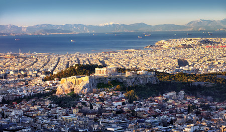 Panoramic view of Athens city from Lycabettus hill at sunrise To Acropolis, Greece Reklamní fotografie