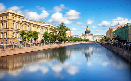 Saint Petersburg, Isaacs Cathedral,  waterfront canal and houses - Russia Reklamní fotografie