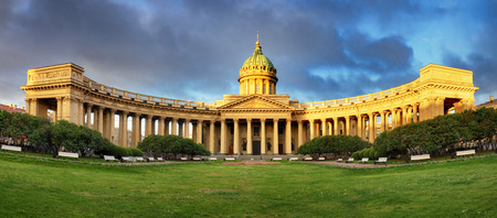 Panorama of Cathedral of Our Lady of Kazan, Russian Orthodox Church in Saint Petersburg
