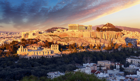 The Acropolis of Athens, Greece, with the Parthenon Temple