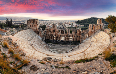 Athens - Ruins of ancient theater of Herodion Atticus in Acropolis, Greece Reklamní fotografie