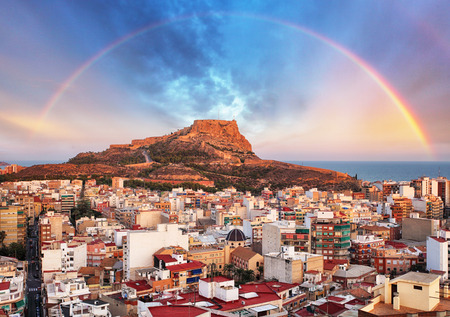 Alicante in Spain at sunset with rainbow
