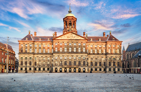 Royal Palace at the Dam Square in Amsterdam, Netherlands. No people in Dam Square in Amsterdam, Netherlands. Reklamní fotografie