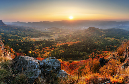 Slovakia forest autumn panorana landscape with mountain at sunrise