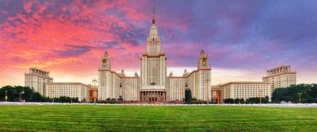 Panorama of Lomonosov Moscow State University at dramatic sunset