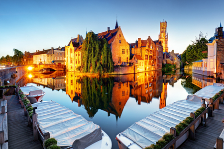Bruges - Traditional city canals in the historical medieval. Belgium