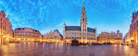 Grand Place in Brussel, panorama at night, Belgium