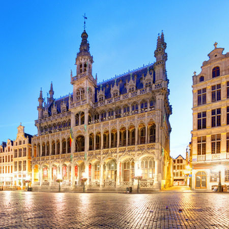 Brussels - Grand place at night, nobody, Belgium 報道画像