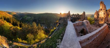 Ruin of castle Sasov sunset - Slovakia landmark landscape