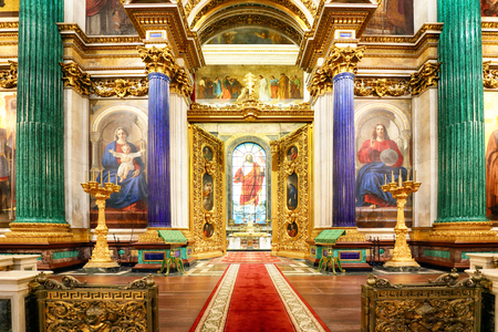 St Petersburg, Russia - August 5, 2018. Interior of the St Isaac Cathedral in St Petersburg, Russia. Inside view of beautiful interior decorations