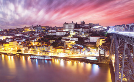 Porto, Portugal old town skyline on the Douro River 写真素材