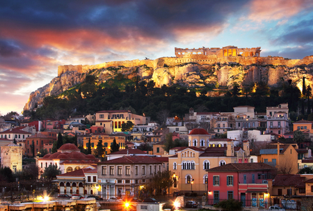 Panoramic view over the old town of Athens and the Parthenon Temple of the Acropolis during sunrise 写真素材