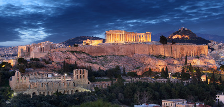 Acropolis hill - Parthenon temple in Athens at night, Greece