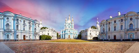 Saint Petersburg, View of the Smolny Cathedral, Russia. Panorama at sunset.